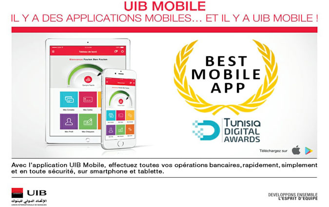 L'application UIB MOBILE élue BEST MOBILE APP aux Tunisia Digital Awards
