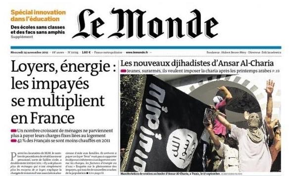 le journal le monde consacre sa couverture la tunisie encore une fois. Black Bedroom Furniture Sets. Home Design Ideas