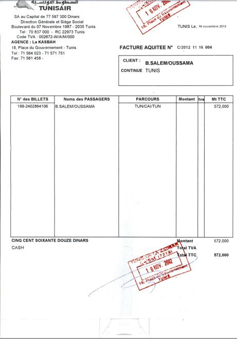 oussama ben salem publie la facture de son billet d avion. Black Bedroom Furniture Sets. Home Design Ideas