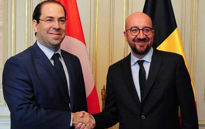 Youssef Chahed s'entretient avec Charles Michel