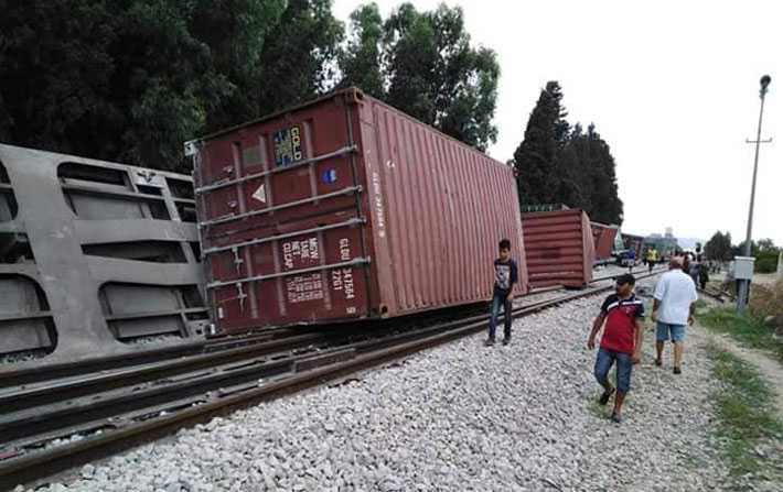 En photos - Déraillement d'un train de marchandises à Grombalia
